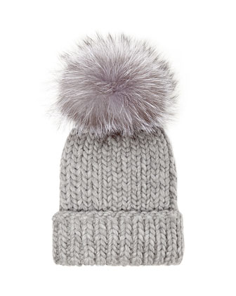 Rain Knit Hat with Fur Pompom, Gray