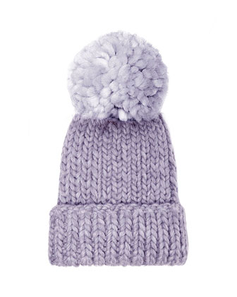 Rain Knit Hat with Pompom, Lavender