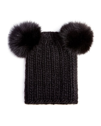 Mimi Knit Hat with Fur Pompoms, Black