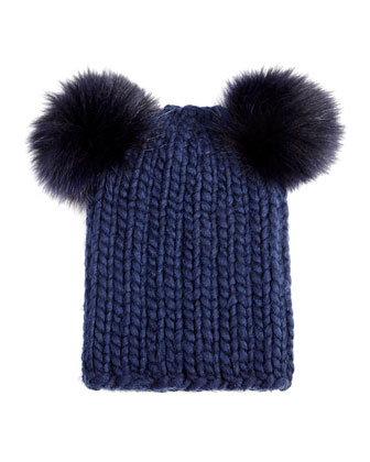 Mimi Knit Hat with Fur Pompoms, Navy