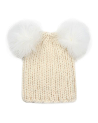Mimi Knit Hat with Fur Pompoms, Cream