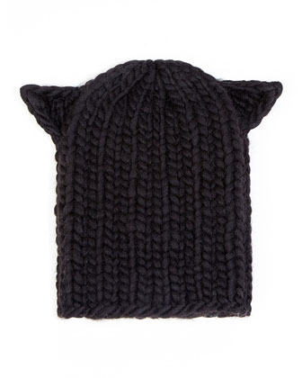 Felix Cat-Ear Knit Hat, Black