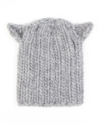 Felix Cat-Ear Knit Hat, Light Gray