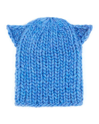 Felix Cat-Ear Knit Hat, Heather Blue