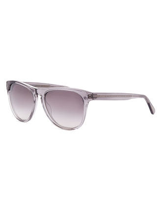Daddy B Clear Plastic Square Sunglasses, Gray