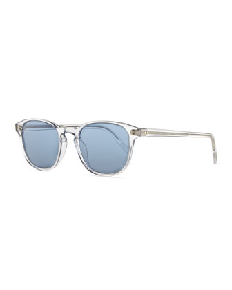 Plastic Square Sunglasses, Clear/Blue