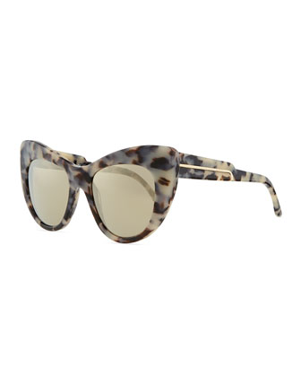 Tortoise Cat-Eye Sunglasses, Gray