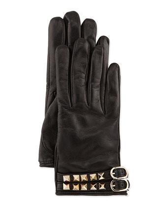 Rockstud Napa Driving Gloves, Black