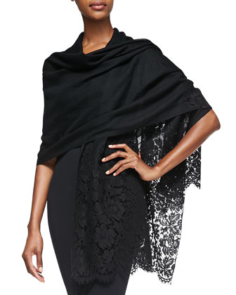 Cashmere Heavy Lace Shawl, Black