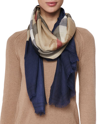 Cashmere Colorblock Check Scarf
