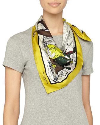Weather Scene Printed Silk Scarf, Yellow Iris