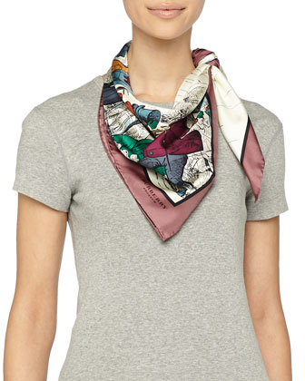 Weather Scene Printed Silk Scarf, Cherry