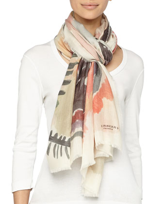 Watercolor Floral-Print Cashmere Scarf