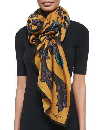 Floral-Print Cashmere Scarf, Mustard