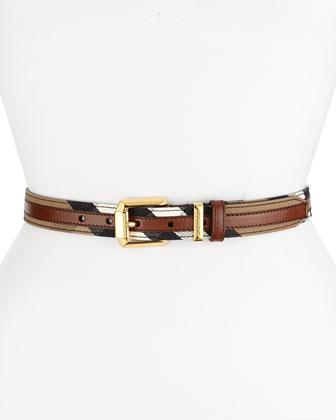 Check Canvas/Leather Bridle Belt, Tan