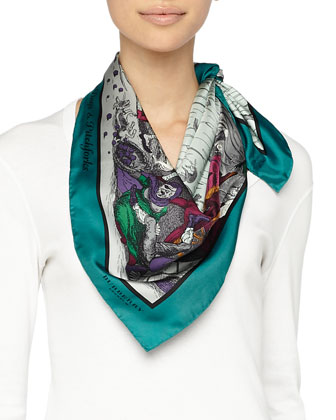 Printed Silk Scarf, Blue