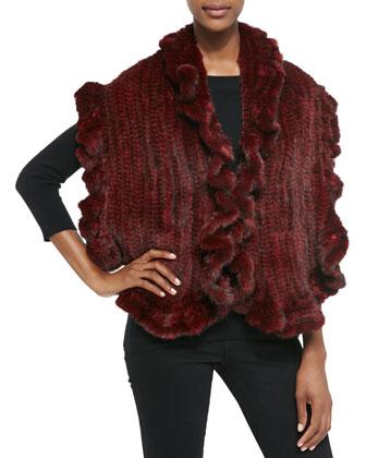 Knit Mink Fur Rufflled-Detail Vest, Red