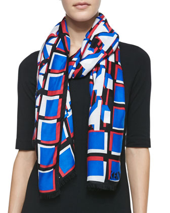 3D Geometric-Print Scarf, Black/Blue/Red