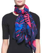 Four Tigers Square Scarf, Red