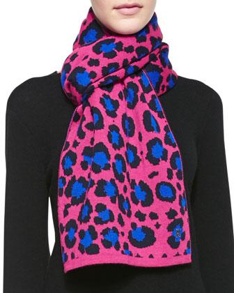 Leopard Knit Scarf, Fuchsia/Blue