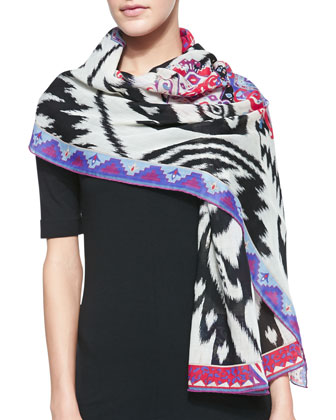 Ikat-Print Wool Scarf, White/Multi