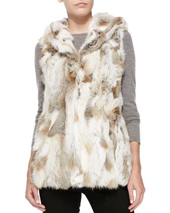 Hooded Rabbit Vest, Natural
