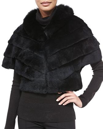 Chevron Fox/Rabbit Jacket, Black