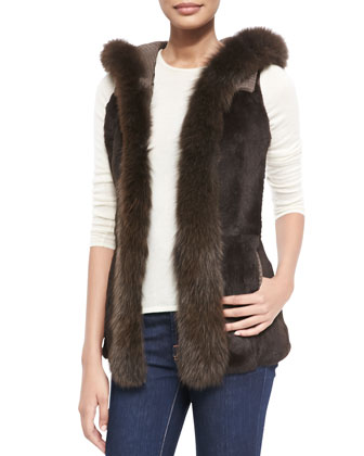 Hooded Fox & Rabbit Fur Vest, Brown