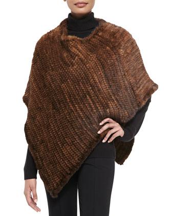 Asymmetric Knit Mink Poncho, Brown