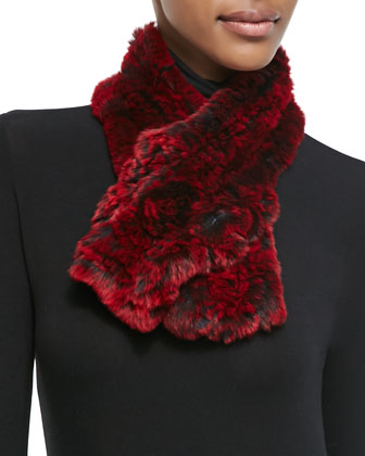 Rex Rabbit Fur & Knit Scarf, Red