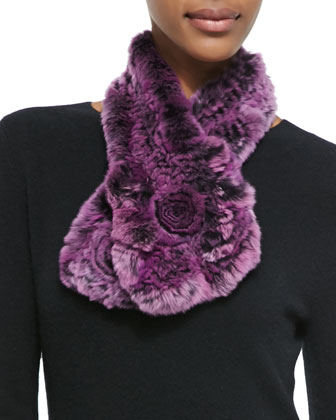 Rex Rabbit Fur & Knit Scarf, Purple