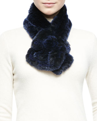 Rex Rabbit Fur & Knit Scarf, Navy