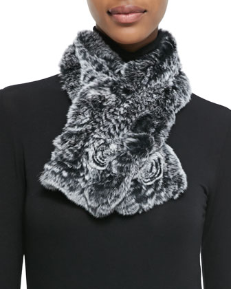 Rex Rabbit Fur & Knit Scarf, Black-White