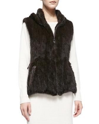 Knitted Mink Fur Zip Vest