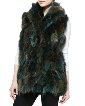 Shawl-Collar Fox Fur Vest, Green