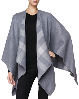 Check-Lined Merino Wrap