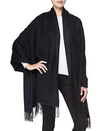 Cashmere Fringe Wrap, Black