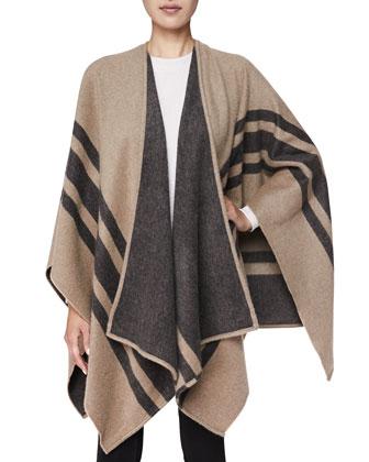 Cashmere/Wool Striped Wrap, Camel