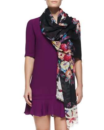 Film Noir Floral-Print Scarf & V-Neck Flounce Mini Dress