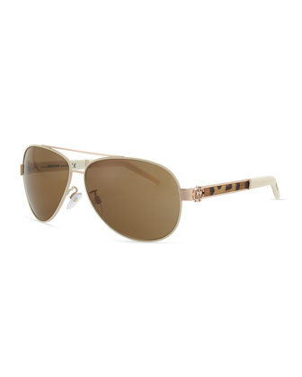 Gorgena Leopard Yellow Golden Aviator Sunglasses