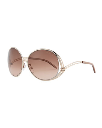 Round Metal Sunglasses, Rose Golden