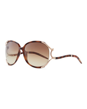 Hamal Plastic/Metal Sunglasses with Snake, Havana