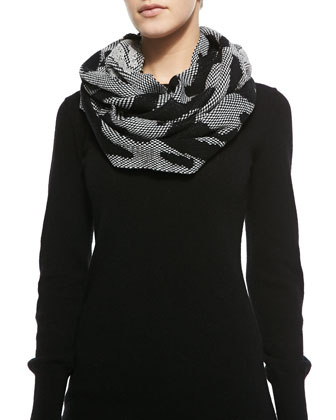 Wild Side Printed Infinity Scarf, Black