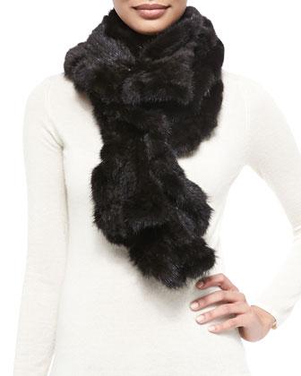Knit Mink Fur Ruffle Scarf, Black