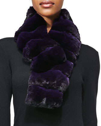 Chinchilla Fur Scarf, Purple