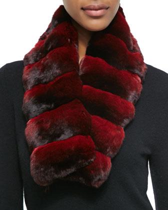 Short Chinchilla Fur Scarf, Scarlet
