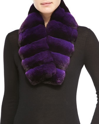 Chinchilla Fur Scarf, Light Purple