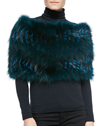 Layered Fox Fur Cowl Collar, Emerald