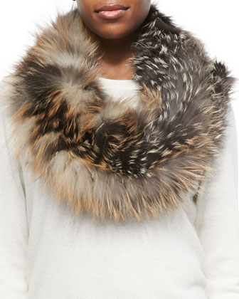 Layered Fox Fur Cowl Collar, Cross