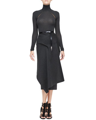 Long-Sleeve Turtleneck Bodysuit, Draped Jersey Skirt & Polished Calfskin ...